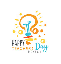 Happy teachers day card concept with electric lamp vector