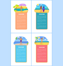 hot summer on beach promo internet banners set vector image