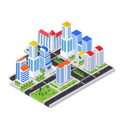 Housing complex - modern colorful isometric vector