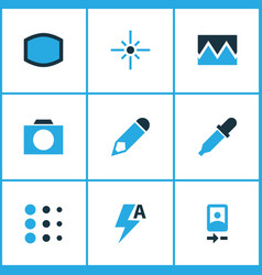 Image icons colored set with photographing flare vector