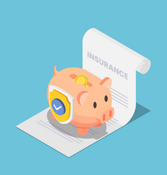 isometric piggy bank full money with shield vector image
