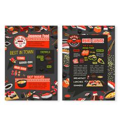 Japanese cuisine asian food menu poster vector