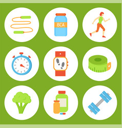Jumping rope and bottles set vector