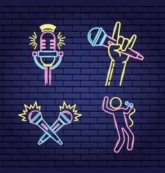 karaoke neon style vector image