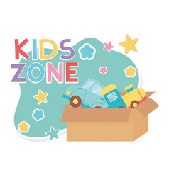Kids zone cardboard box with train and car toys vector