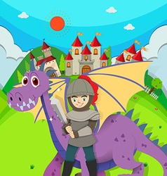 Knight and dragon in the field vector image