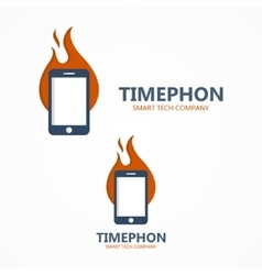 Logo combination of a fire and phone vector image