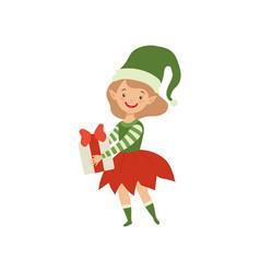 lovely happy girl in elf costume holding gift box vector image