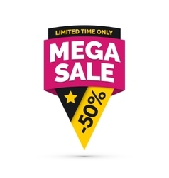 Mega sale banner yellow and pink colors vector