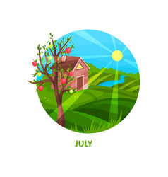 nature landscape with small house meadow apple vector image