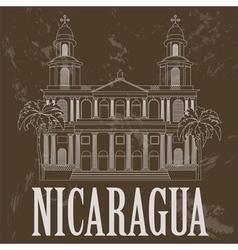 Nicaragua landmarks Retro styled image vector image