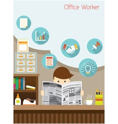 Office Worker Read Business Newspaper in Office vector image