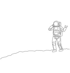One single line drawing cosmonaut make a call vector
