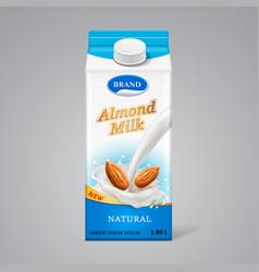 paper box for almond milk vector image