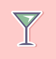 Paper sticker on stylish background martini glass vector
