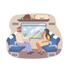 passengers traveling train flat vector image