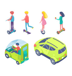 people driving on eco cars and riding boards set vector image