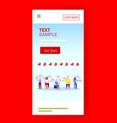 People group in santa hats sending messages social vector