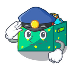 Police character wooden box of kids toys vector