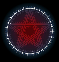 red five pointed pentagram star with ornament vector image