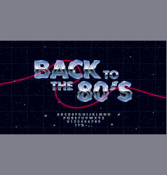 Retrowave synthwave font design in 1980s vector