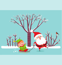 santa and elf on sleigh christmas and new year vector image