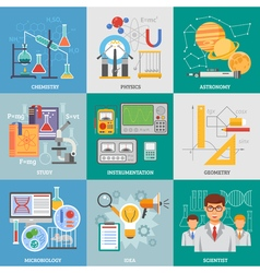 Science research 9 flat icons square vector