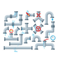 set broken details ware pipes system vector image