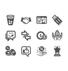 Set business icons such as loan percent usd vector