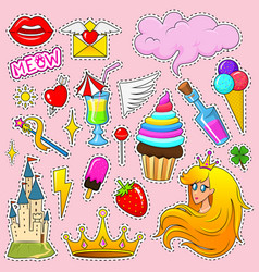 Set girls fashion cute patches fun stickers vector