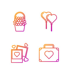 set line suitcase for travel with heart two vector image