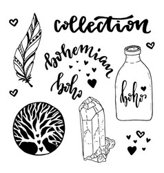 Set of boho style elements with hand drawn hippie vector