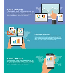 Set of flat design concepts for business planning vector image