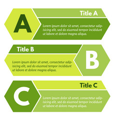 Set three horizontal green options banners vector