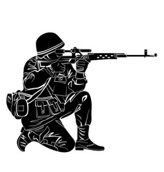 Silhouette of a soldier vector