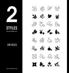 Simple line icons spices vector