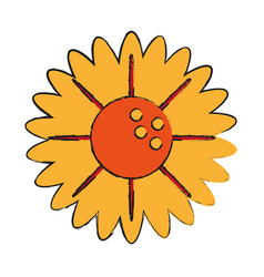 Single yellow flower icon image vector