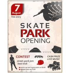Skate Park Opening Poster vector image