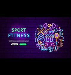 sport fitness neon banner design vector image