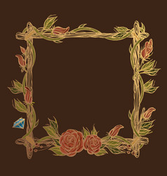Square golden frame made of branches with roses vector