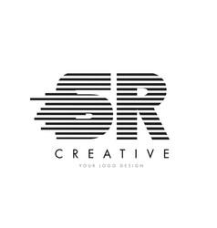 sr s r zebra letter logo design with black and vector image