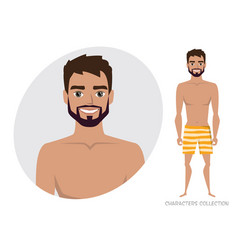 Stylish man in a beach swimming trunks vector