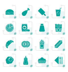 Stylized fast food and drink icons vector