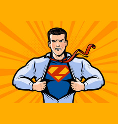 superhero or businessman tears his shirt vector image