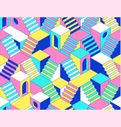 Surreal seamless pattern with stairs steps vector