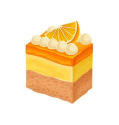 tasty three-layered dessert decorated with milk vector image