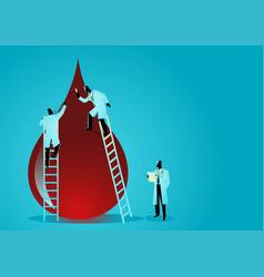 team doctors diagnose blood drop vector image