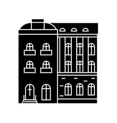 townhouse black icon concept townhouse vector image