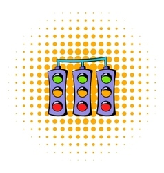 Traffic lights icon comics style vector image