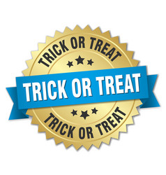 trick or treat round isolated gold badge vector image